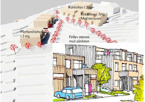 Satt på vent: Digital volummodell med alternativ bebyggelse. Innfelt en skisse fra adkomst til Høilundveien.