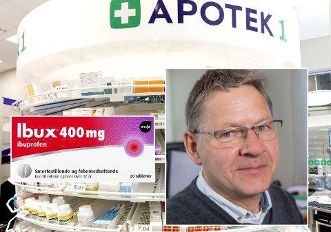 DOBBEL PRIS: En pakke med 20 tabletter med Ibux koster dobbelt så mye i butikk som på nett - hos samme aktør. – Trist utvikling, mener Pensjonistforbundets Harald Norman.