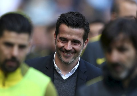 Hull City manager Marco Silva prepares for the match against Manchester City during their English Premier League match at the Etihad Stadium, Manchester, England, Saturday, April 8, 2017. (Dave Thompson/PA via AP)