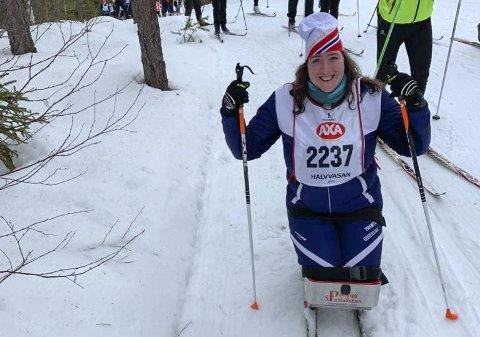 STOLT: Miriam Ormøy Ibsen fra Risør fullførte de 45 kilometerne i Halvvasan, som er halvdistansen på Vasaloppet i Sverige.