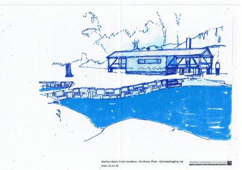 Slik ser han den for seg, arkitekt Einar Myraker. Dette skal være en tilnærmet kopi av dampsaga som sto på Korshavn, og som det nå planlegges å bygge.