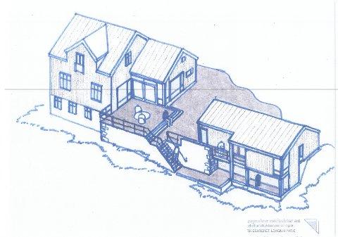 Slik er tegningen på garasjen og tilbygget i Lagveien 440. Illustrasjon: Myraker Arkitekter AS
