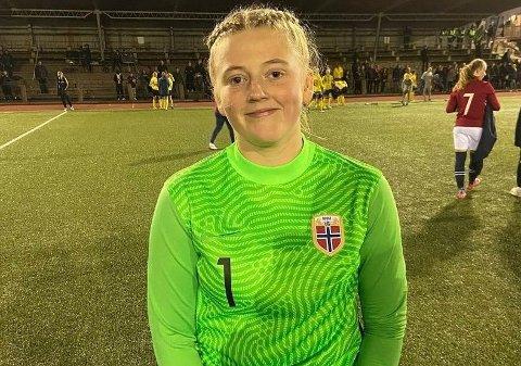 Lotte Egeland fra Flekkefjord fotografert etter landskampen mot Sverige onsdag kveld.