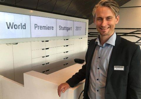 Administrerende direktør i Porsche Norge, Morten Scheel, gleder seg over responsen på den nye elbilen Mission E.
