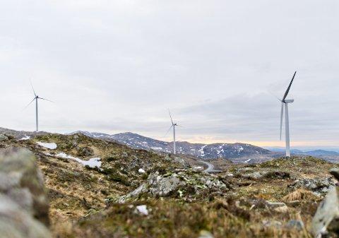 Imot: Vindmølleparken på Fitjar er et eksempel på en utbygging som må stoppes nå, mener sterke krefter i SV.foto: vidar langeland