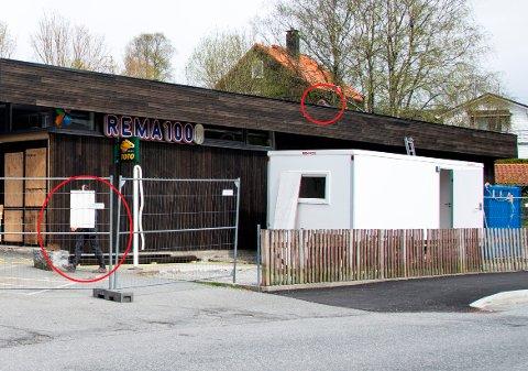 Denne Rema 1000-butikken i Bergen under rehabilitering. Noen håndverkere (innringet) benyttet dagen til å jobbe, noe entreprenøren nå beklager.