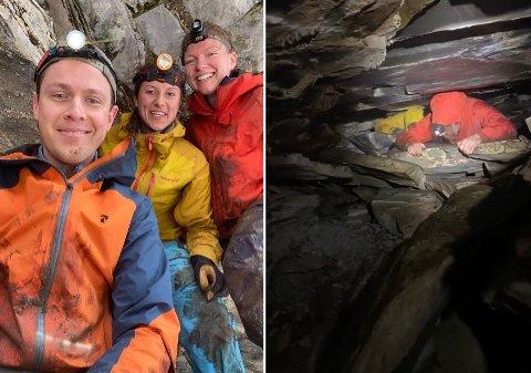 Ekspedisjon: Erna Margrethe Nærheim (t.h.) besøkte grotten i Salangen sammen med Ola Berre og Janicke Selnes.
