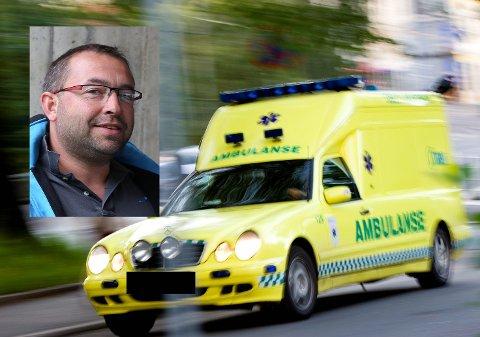 Leiar Ola Yttre i Ambulanseforbundet påpeikar at einmannsbetjente ambulansar ikkje bør komme i staden for ein fullverdig ambulanse.