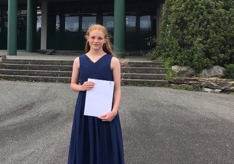 Marte Karlsen Fuglestad hadde god grunn til å være fornøyd med vitnemålet hun tok med seg etter endte tre år ved Gjesdal ungdomsskole.