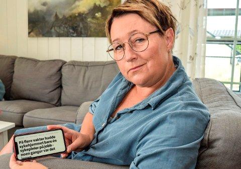 VARSLET: – Som helsepersonell er det min plikt å si fra når jeg opplever at det går på pasientsikkerheten løs, sier sykepleier Nina Trogstad.