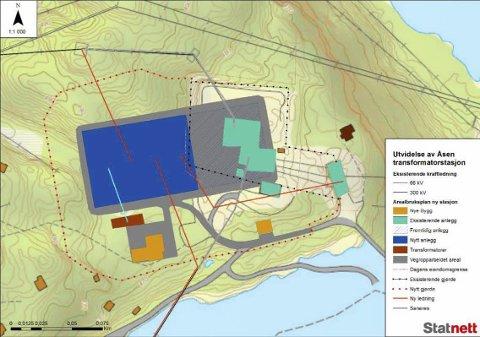 Skjeggedal: Planlagt utvidelse av Åsen transformatorstasjon. Nytt friluftsanlegg/bryterfelt er vist med mørkeblått. illustrasjon: Statnett