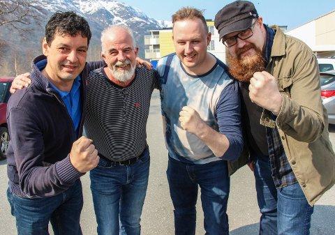Disse fire vil ha folk ut i gatene onsdag. Fra venstre Øyvind Lervik (SV), Gunnvald Lindset (Rødt), Rune Krutå (Ap) og Stian Nordal Jensen (LO)