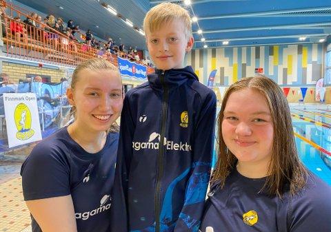 SPENT: - I helga skal vi ha det så gøy som over hodet mulig, er trener og utøver Lise Hassfjord Holmen (16), rekrutt Pål Henrik Johansen Børseth (10) og trener og utøver Amanda Fris Winterseth (16) enige om.