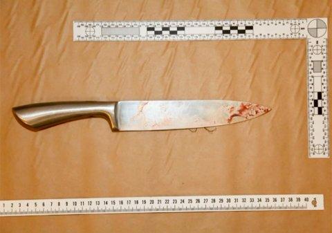 TRUET OG STAKK MED KNIV: Politiet mener at det var denne kniven på 33,5 centimeter som ble brukt da mannen angivelig knivstakk sin daværende kjæreste to ganger natt til 13. juni 2019. Bildet som er av skjermdump fra stream fra retten, brukes med tillatelse fra politiet.