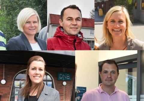 Dette er noen av de lokale eiendomsmeglerne: Elene Moseby Torre (øverst t.v.), Kenneth Sverre, Camilla Haugerudbråten, Katrine Wilberg (nederst t.v.) og Øyvind Sægrov.