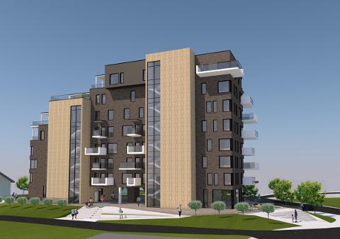 En av skissene til det nye leilighetskomplekset i Stasjonsveien på Bjørkelangen viser hvordan bygget er tenkt. Her vil mange bo!