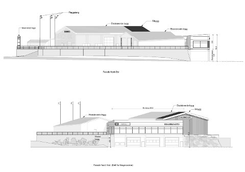 FASADEN: Slik er bygget tegnet. Den nederste illustrasjonen viser bygget sett fra Kalstadveien.