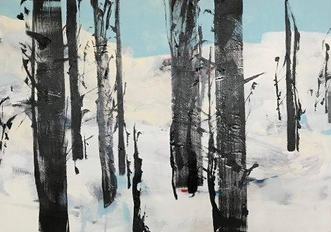 Laurdag opnar Ingrid Egeberg utstilling i Galleri G Guddal. Dette maleriet heiter «Det sies at trær snakker sammen».