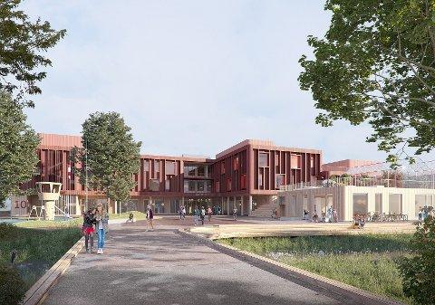 FIRKLØVER: Den nye ungdomsskolen blir utformet som en firkløver. Firkløveren skal bestå av tre læringsfløyer og én fløy som huser idrettshall og språk- og realfagsenter. Foto: Arkitema Architects