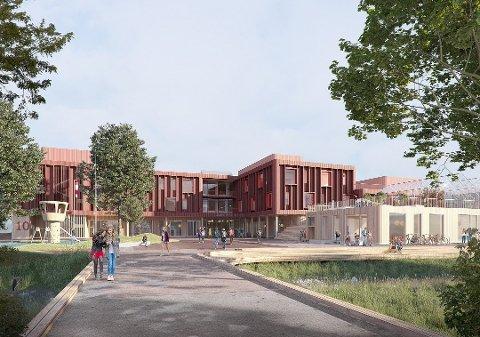 SKOLE OG HALL: Det skal bygges både skole, hall og park i Sophie Radichs vei i Lillestrøm.