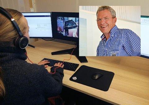 Veterinærer som leder inspeksjon fra et kontor ved hjelp av STIM PRO. STIM-gründer Jim Roger Nordly (innfelt)