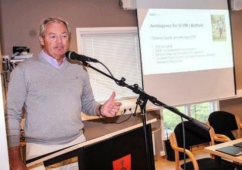 TREKKER FOLK: Per Bergerud presenterte planene for VM i orientering i Østfold for Rygge kommunestyre.