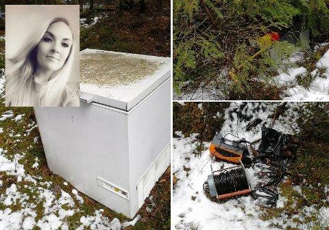 Ragna H. Kværnø (38) var på tur med hunden i Mossemarka da hun kom over flere elektronikkartikler dumpet i skogen.