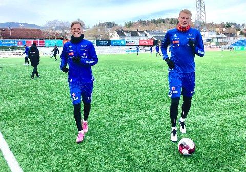 KOM INN ETTER PAUSE: Ruben Kristensen Alte og Sondre Klingen Langås fikk bra med spilletid da Ranheim møtte Rosenborg til treningskamp onsdag ettermiddag.