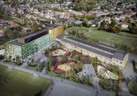 Voldsløkka skole og kulturområde i Oslo; ett av de seks Europeiske demo-prosjektene. Skal utvikles av Oslobygg v/ Oslo kommune. Foto: ARV-prosjektet/NTNU