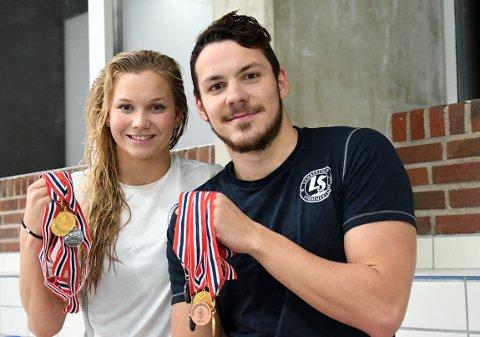 GULLVINNERE: Niksja Stojkovski fikk med seg en del medaljer fra NM og var sammen med Marte Løvberg (fire individuelle medaljer) Lambertseters mestvinnende utøver.