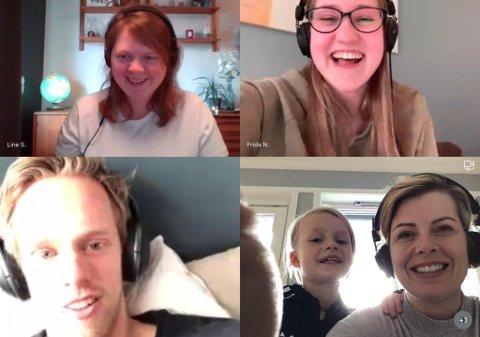 PÅLOGGET: Videosamtaler er den nye hverdagen for Munkerud-lærerne. Øverst fra venstre: Line Siggerud, Frida Nikoline Solsdatter Hoff, Emil Midtbø Sundal og Elisabeth Eik Gabestad med datteren Julie (8).