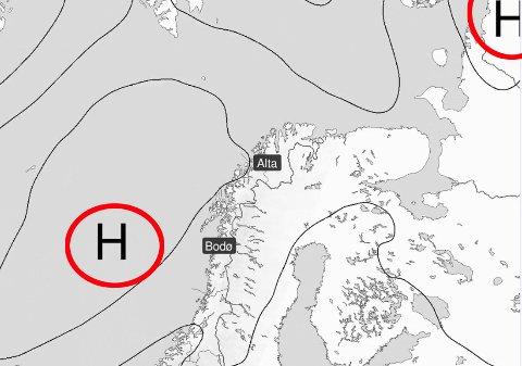 GODE UTSIKTER: Når det første høytrykket forsvinner østover torsdag, er et nytt på vei. Illustrasjon: Meteorologisk institutt