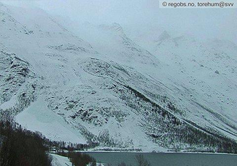 VEIEN STENGT: Sist helg gikk det en rekke snøskred i Holmbuktura. Nå er Fv 293 stengt inntil videre på grunn av frykt for nye skred. Foto: Regobs