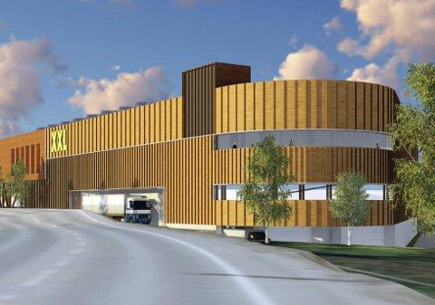 KIRKEBY: XXL sitt ønske om etablering på Kirkeby er utfordrende.Illustrasjon: JAF Arkitektkontor AS