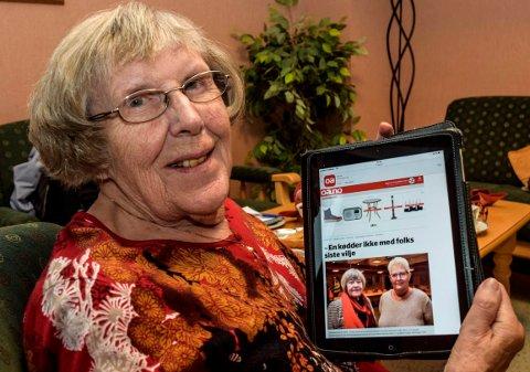 HELT ENIG: - Heller ikke jeg synes noe om at en testamentarisk gave til sosial tiltak for eldre plasseres på bundet investeringsfond i kommunen, sier Ragna Svartveit (91) på Hovli eldresenter.