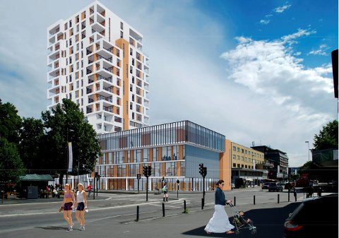 Shell-tomta: Slik kan det se ut dersom opposisjonpolitikerne i Gjøvik fikk bestemme hvor kulturhuset skal bygges. ILLUSTRASJON: JAF Arkitektkontor