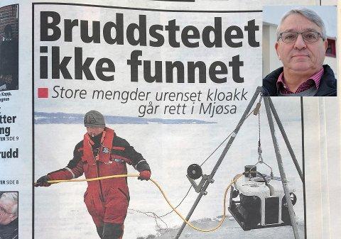 ALVORLIG: – Den mest kritiske hendelsen jeg har vært med på, var da det gikk et undersjøisk ras i Mjøsa ved Englandsodden i februar 2010, sier teknisk sjef Einar Kulsvehagen.