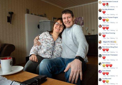 STOR STØTTE: Paret har fått mange støtteerklæringer i sosiale medier etter at Bjørn Erik og Hilde Bekkelund fortalte om førstnevntes ALS-diagnose.
