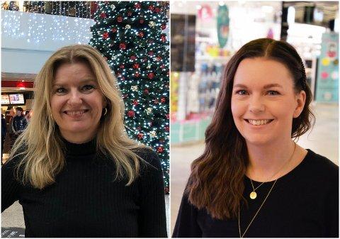 SMITTEVERN: Senterlederne Vibeke Askevold og Cathrine Løkken Jensrud oppfordrer kundene til å bruke hele åpningstida.