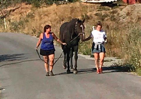 ENDELIG: Her er hesteeier Iren Lyngnes til venstre og Pernille. Hesten har kommet seg opp og er på vei til stallen, etter over fire timer i gjørma.