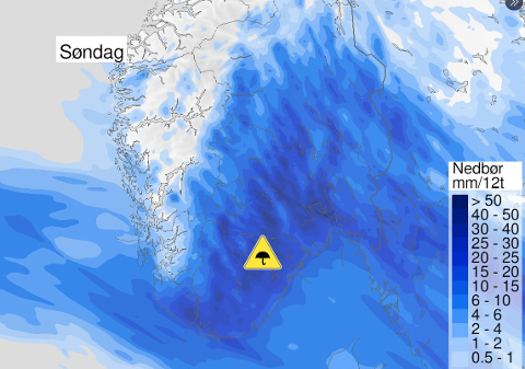 GULT FAREVARSEL: Det er sendt ut gult farevarsel etter at det skal komme mye nedbør til søndag.
