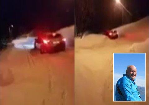 PÅ VILLSPOR: Øystein Sørvoll (innfelt) møtte torsdag på to asiatiske turister på kjøretur i lysløypa på Lyngseidet.