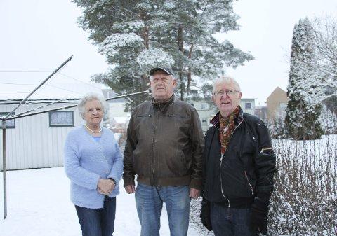 Kritiske: Else Hyllestad, Arne Morthaug og Finn-Roald Schie mener det ikke bør bygges høyere enn to etasjer på tomtene mot Heggveien. De andre husene i området bak har kun en etasje. De frykter at de vil få bygg på høyde med tujaen i bakgrunn kloss innpå. Foto: Beate Sloreby