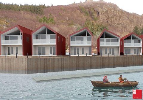 Sjøhusene skal bygges i tre varianter, blant annet med forskjellige takvinklinger for å illustrere fjell.