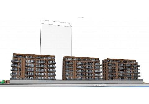 TRE BLOKKER: Slik er de tre nye blokkene foran Mjøstårnet planlagt.