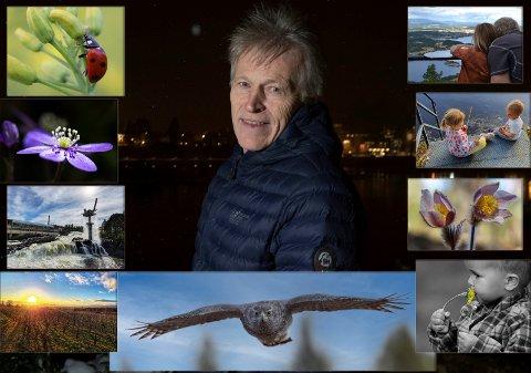 Svein Olav Blindheim og et lite utvalg av bildene han nå skal se gjennom for å finne sitt neste cover-bilde.
