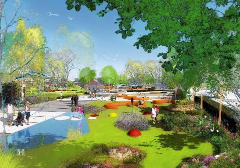 GRØNT: Promenade og grønne lunger, møteplasser og rom for aktiviteter er tanken bak planene.
