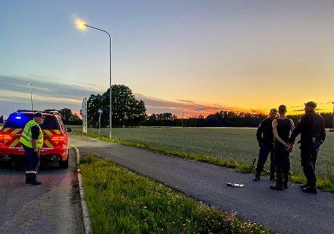 PÅGREPET: Her blir Gøran Tapio pågrepet av politiet søndag kveld.