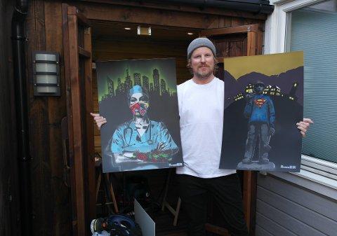 HYLLEST: Ronny Hammer frå Årdal hyllar helsevesenet og heimbygda med sine street-art-bilete.