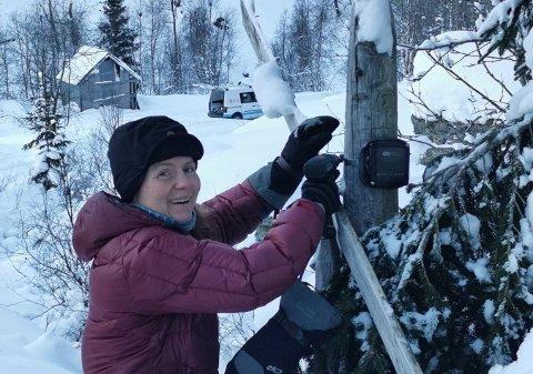 LIKAR SEG UTE: Snædís stortrivst med jobben og naturen i Aurland. Her blir eit nytt teljeapparat sett opp.